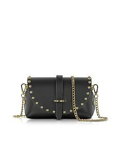 Caviar Mini Black Leather Shoulder Bag w/Studs - Le Parmentier