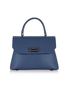 Lutece Small Blue Leather Top Handle Satchel Bag - Le Parmentier
