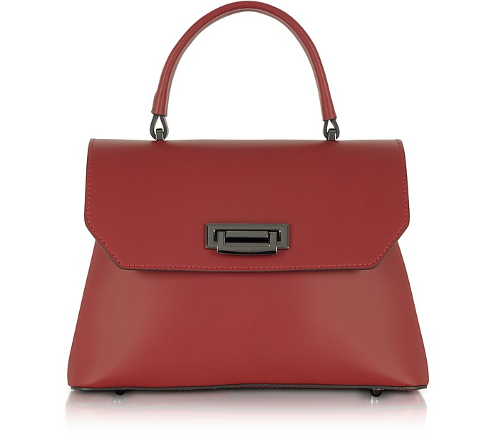 Lutece Small Red Leather Top Handle Satchel Bag - Le Parmentier