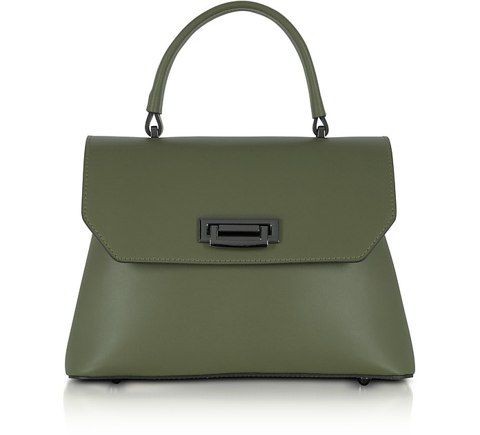 Lutece Small Military Green Leather Top Handle Satchel Bag - Le Parmentier