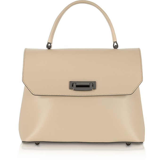 Lutece Medium Nude Leather Top Handle Satchel Bag - Le Parmentier