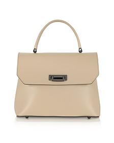Lutece Medium Nude Leather Top Handle Satchel Bag - Le Parmentier