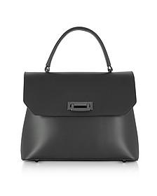 Lutece Medium Black Leather Top Handle Satchel Bag - Le Parmentier