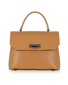 Lutece Medium Cognac Leather Top Handle Satchel Bag - Le Parmentier