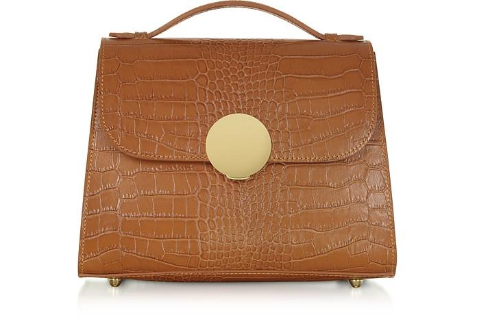Bombo Croco Embossed Leather Top-Handle Satchel Bag w/Strap - Le Parmentier