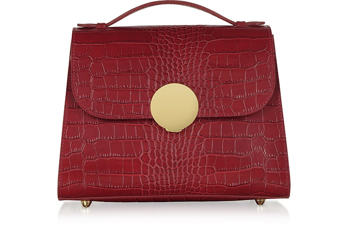 Bombo Croco Embossed Leather Top-Handle Satchel Bag w/Stap - Le Parmentier