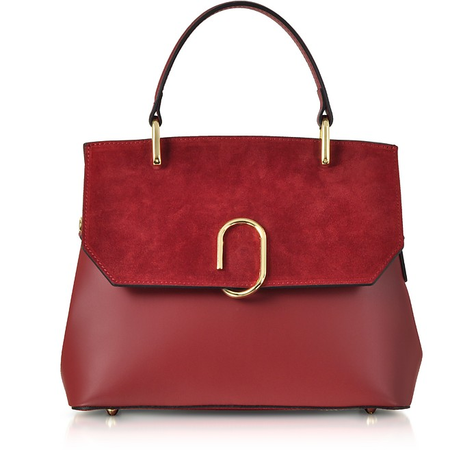 Thais Suede and Leather Satchel Bag - Le Parmentier
