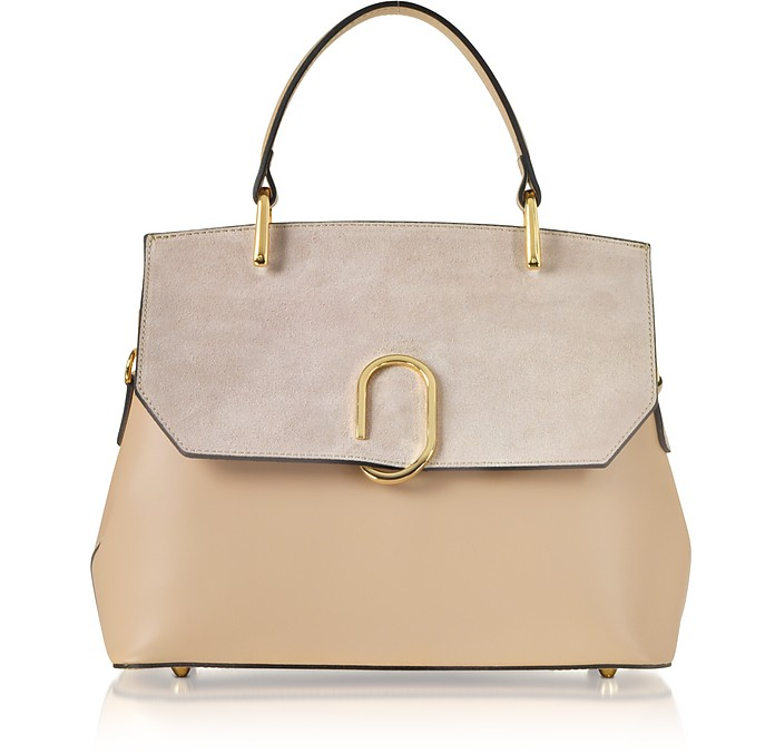 dc524ab239a Le Parmentier Nude Thais Suede and Leather Satchel Bag at FORZIERI