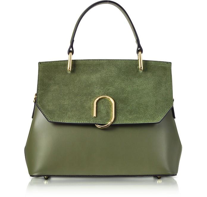 Thais Suede and Leather Satchel Bag - Le Parmentier