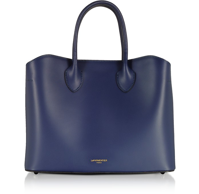 8d8203f93dcd Le Parmentier Navy Blue Jackie Leather Tote Bag at FORZIERI