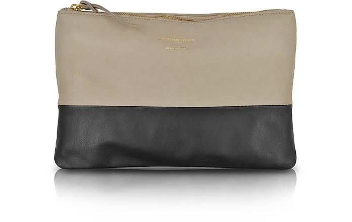 Color Block Nappa Leather Zip Pouch - Le Parmentier