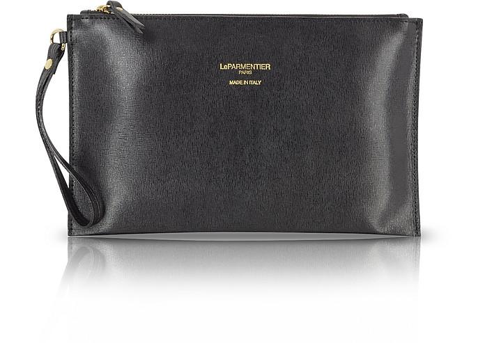 Saffiano Leather Zip Clutch - Le Parmentier