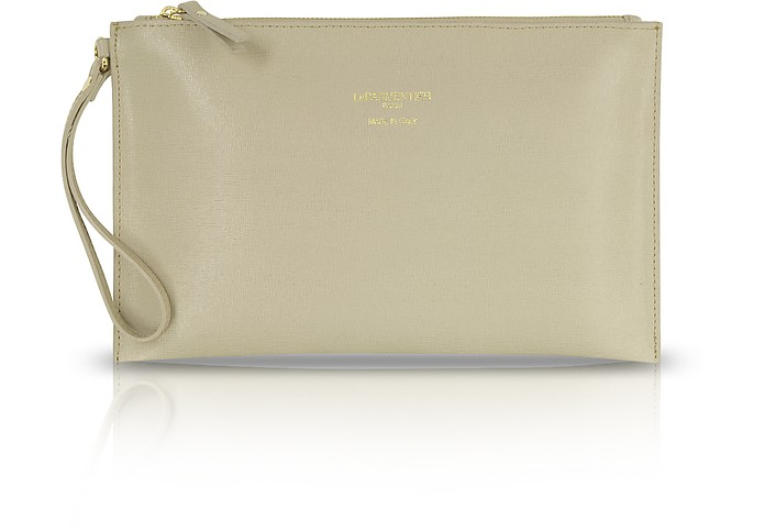 Saffiano Leather Zip Clutch - Le Parmentier