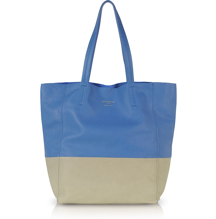 Large Color Block Nappa Leather Tote - Le Parmentier