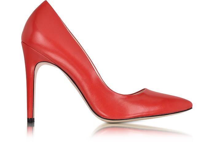 Red Leather Pump - Le Parmentier