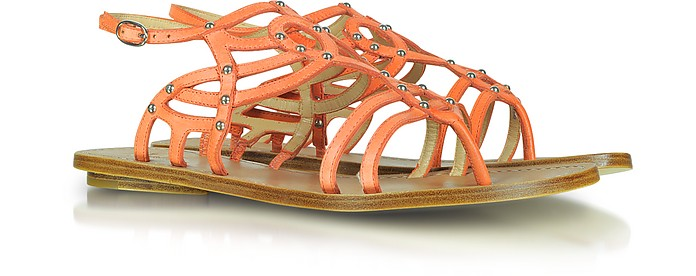 Belle - Roma Studded Peach Leather Flat Sandal - Sigerson Morrison