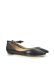 Belle - Sable Black Leather Ballerina Flat