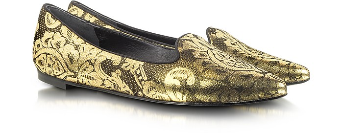 Belle - Sadie 4 Gold and Black Leather Loafer - Sigerson Morrison