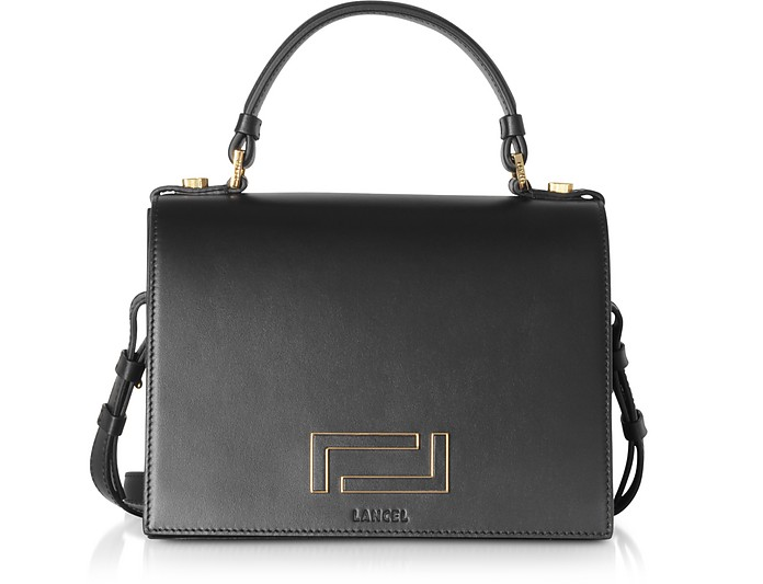 Pia Black Leather and Suede Top Handle Bag - Lancel