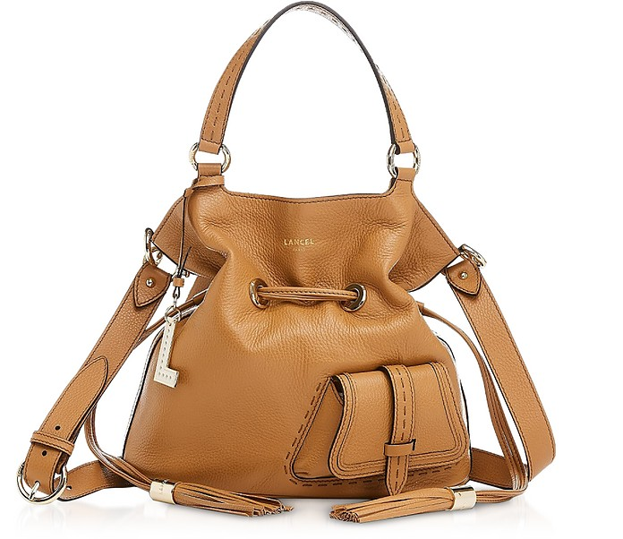 Premiere Medium Camel Leather Bucket Bag - Lancel