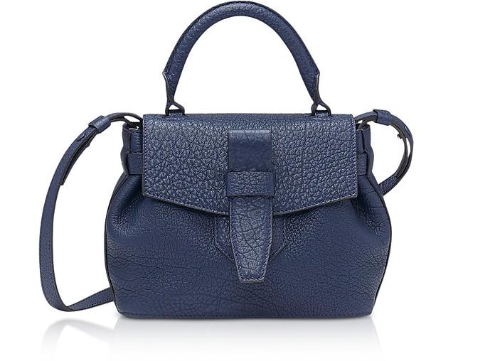 Charlie Nano Petrol Blue Full-Grain Satchel Bag - Lancel