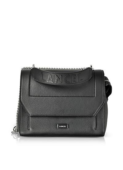 Ninon Round Black Leather Medium Flap Bag - Lancel