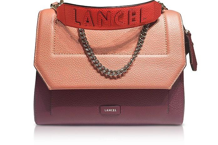 Ninon Round Cassis, Black and Blush Leather Medium Flap Bag - Lancel