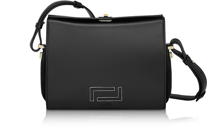 Pia Black Smooth Leather and Suede Crossbody Bag - Lancel