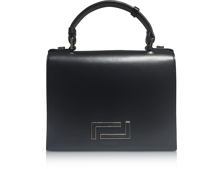 Pia Black Smooth Leather and Suede  Satchel Bag - Lancel