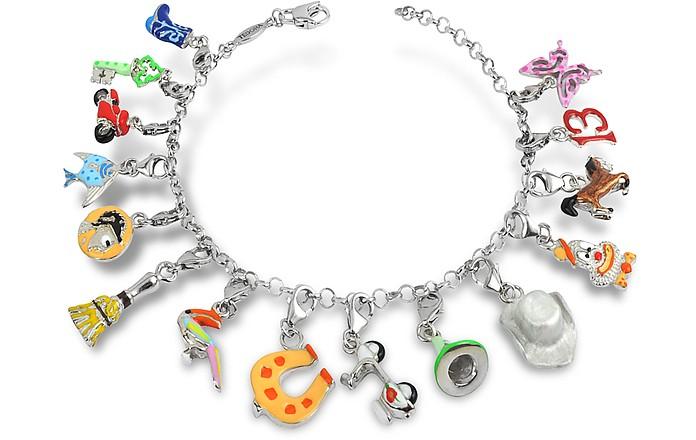 Sterling Silver Multicolor Charm Bracelet - Tedora