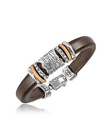 Silver Band Leather Bracelet - Tedora