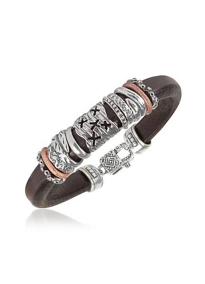 Armband aus Leder mir Ringen aus Sterlingsilber - Tedora