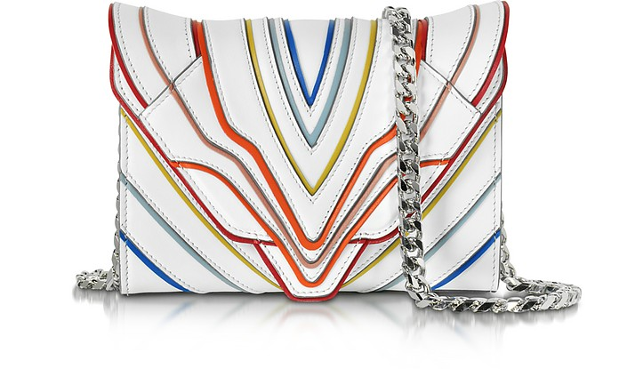 Felina Mignon White Multilines Leather Clutch - Elena Ghisellini