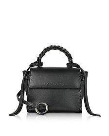 Black Leather Micro Angel Top Handle Satchel Bag - Elena Ghisellini