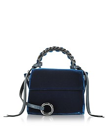 Navy Blue Velvet Micro Angel Top Handle Satchel Bag - Elena Ghisellini
