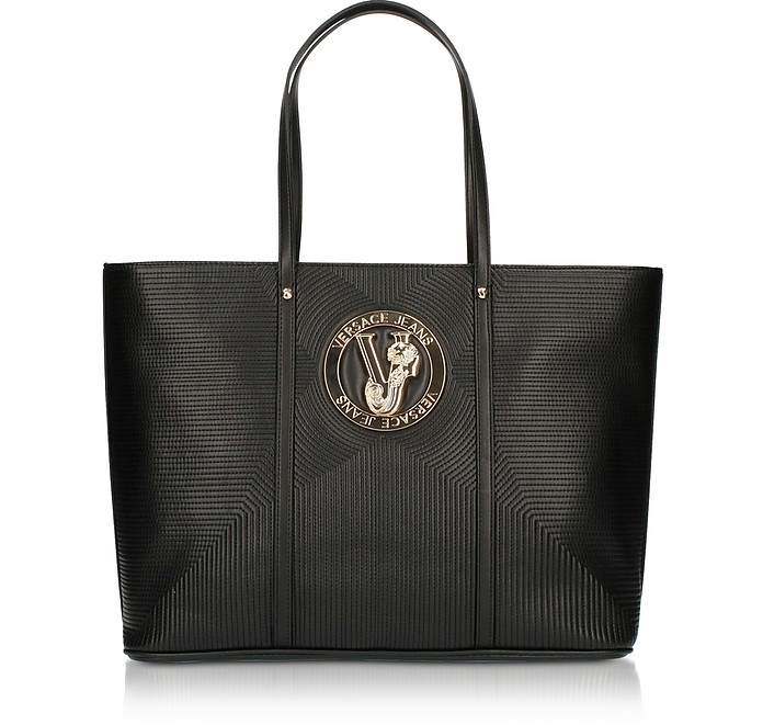M Dis. 2 Black Polyester Tote Bag - Versace Jeans