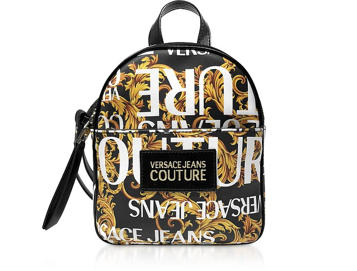 Gold Signature Print Small Backpack - Versace Jeans Couture