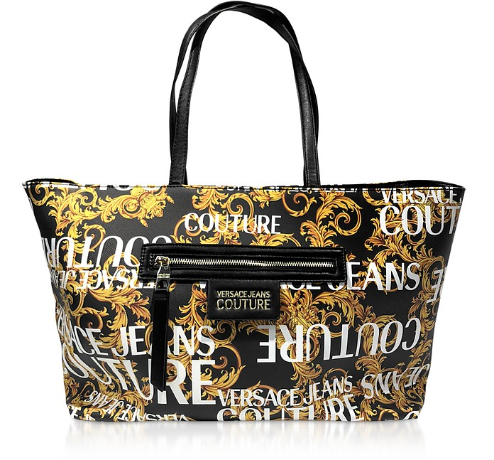 Gold Signature Print Large Tote Bag - Versace Jeans Couture