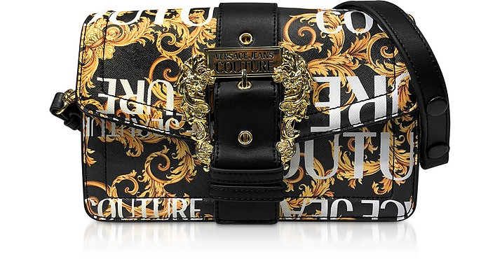 Gold Signature Print Saffiano Leather Crossbody Bag w/Buckle - Versace Jeans Couture
