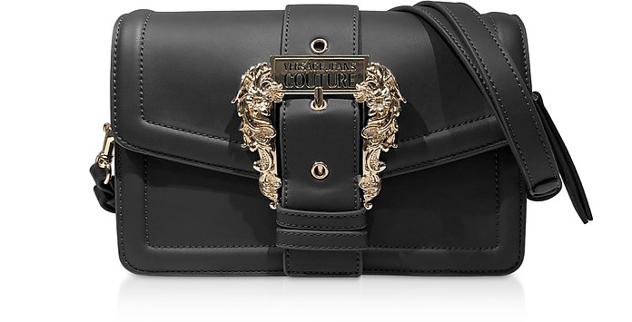 Black Leather Crossbody Bag w/ Buckle - Versace Jeans Couture