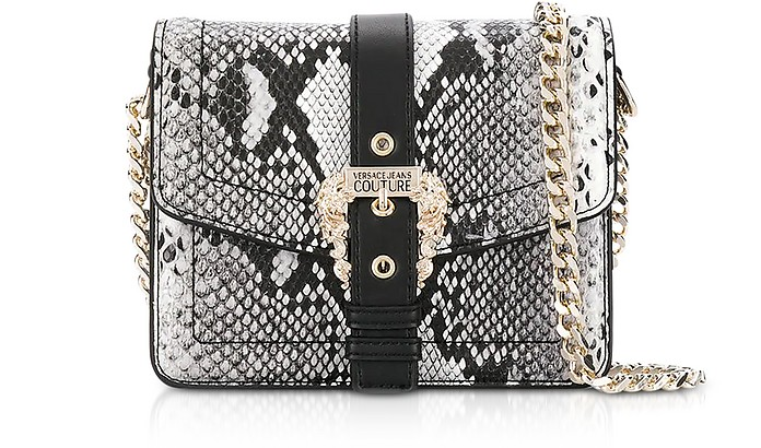 Roccia Python Embossed Leather Shoulder Bag w/ Buckle - Versace Jeans Couture