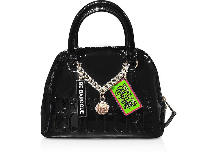 Printed Logo Top Handle Bag w/ Charms - Versace Jeans Couture