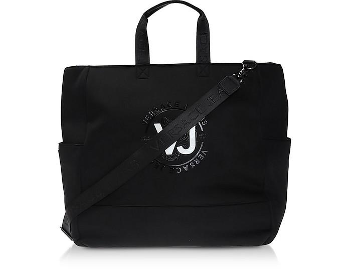 VJ Tiger Black Polyester Tote Bag - Versace Jeans
