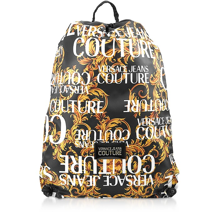 Barocco Printed Nylon Drawstring Backpack - Versace Jeans Couture