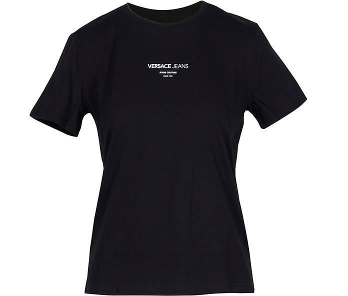 Black Cotton Women's T-Shirt - Versace Jeans / ヴェルサーチジーンズ