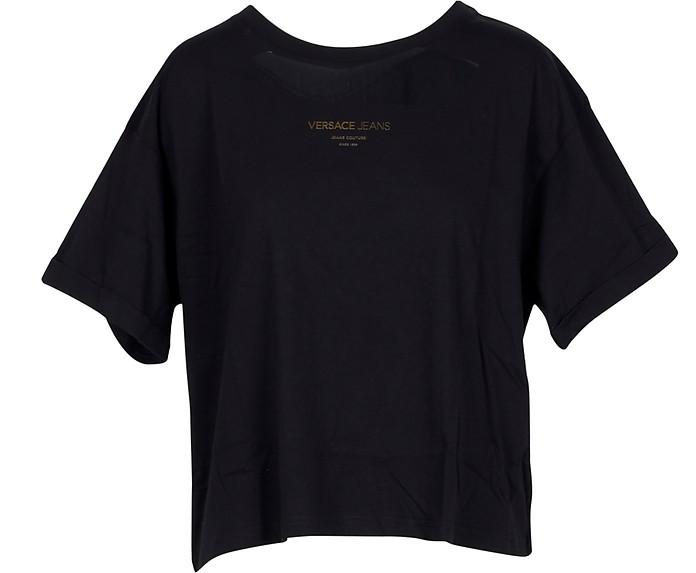 Black Cotton Oversized Women's T-Shirt - Versace Jeans 范思哲 牛仔裤