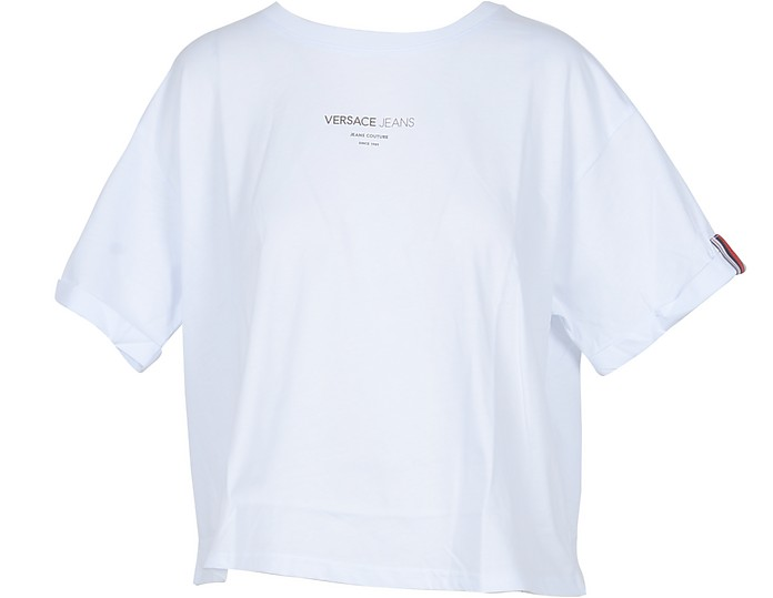 White Cotton Oversized Women's T-Shirt - Versace Jeans