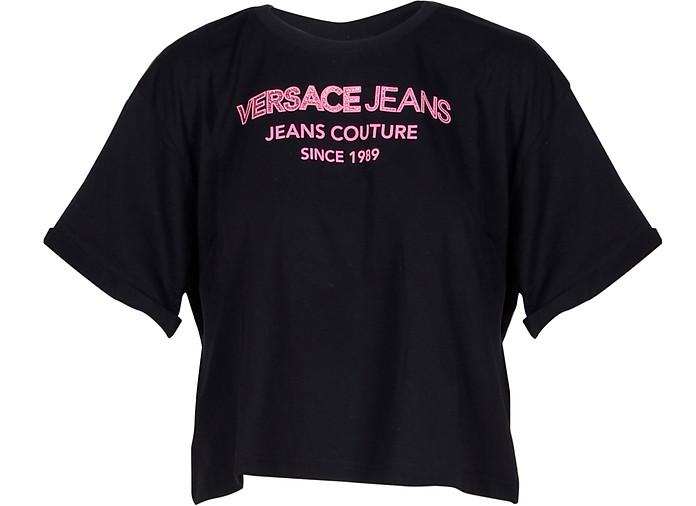 Black & Fuchsia Cotton Oversized Women's T-Shirt - Versace Jeans Couture