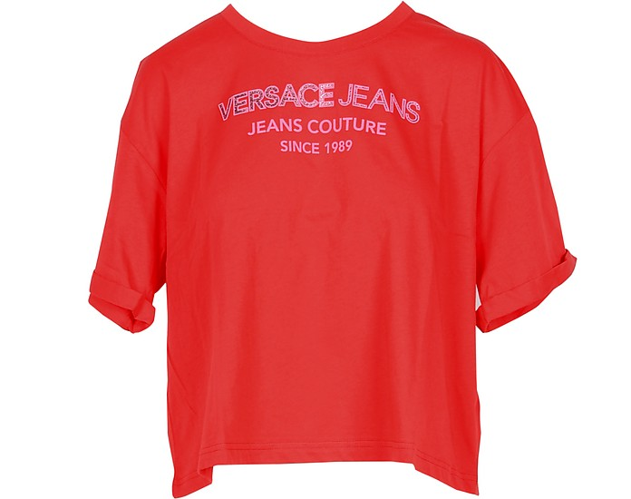 Bright Red Cotton Oversized Women's T-Shirt - Versace Jeans Couture