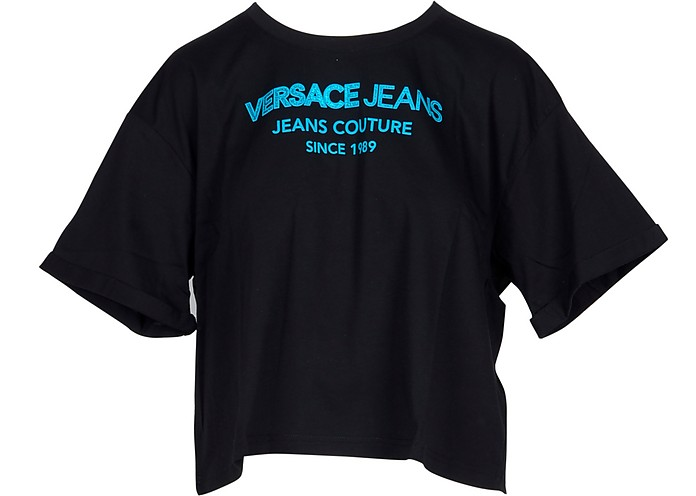 Black & Turquoise Cotton Oversized Women's T-Shirt - Versace Jeans Couture